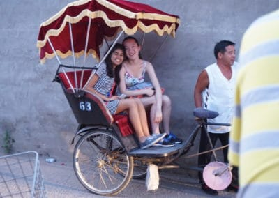 Taking a rickshaw ride